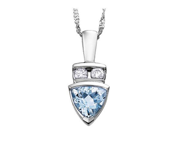 Pendentif 10k blanc aqua-marine 2=0,10 diamant i1 18''