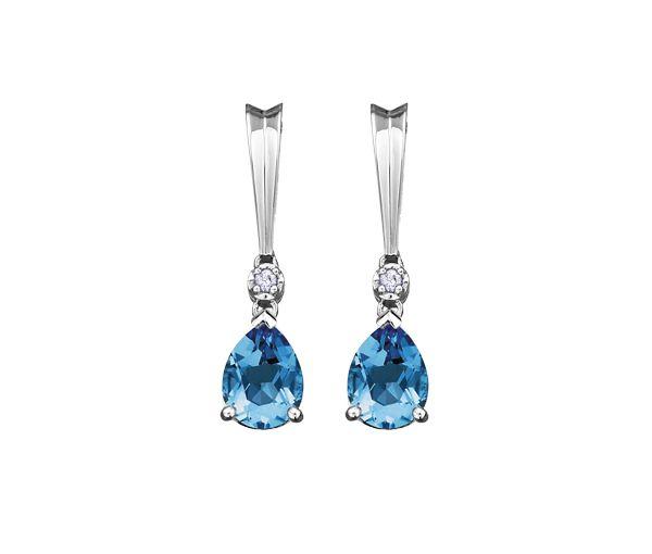 Boucles 10-14k blanc 2=0,025 diamant si2 topaze bleu