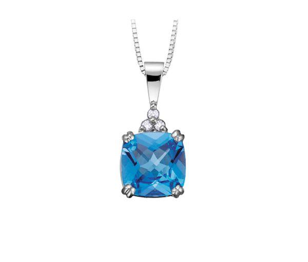 Pendentif 10k blanc topaze bleu 3=0,05 diamant si2 18'