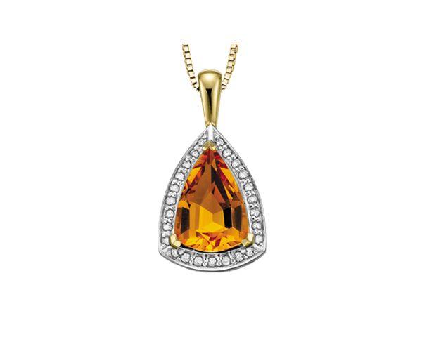 Pendentif 10k citrine 25=0,25 diamant si2 18''