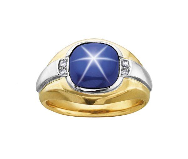 Bague homme or 10k 2 tons sertie de diamants et d'un saphir étoilé