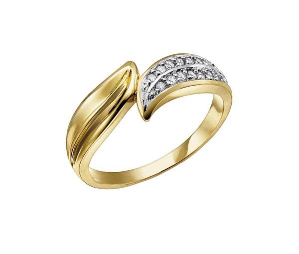 Bague dame or 10k 2 tons sertie de 16 diamants