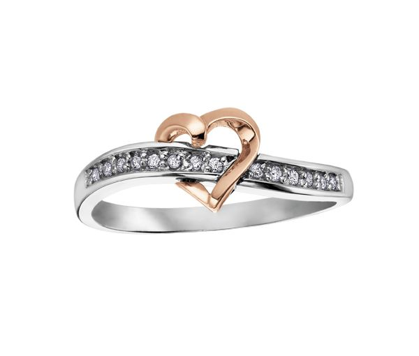 Bague dame coeur or 10k 2 tons sertie de 14 diamants