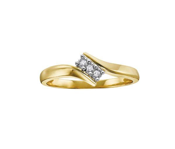 Bague dame trinité or 10k 2 tons sertie de 3 diamants