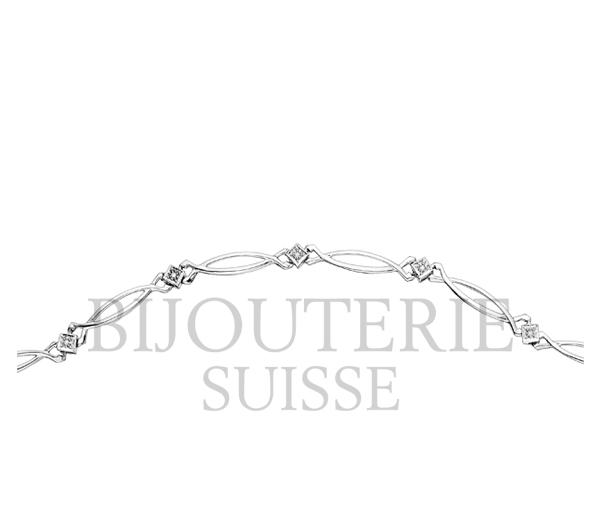 Bracelet dame 10k blanc 8=0,04 diamant i1