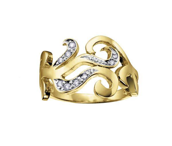 Bague dame stylisé or 10k 2 tons sertie de 9 diamants
