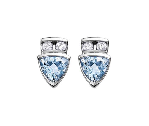Boucles 10k blanc 4=0,10 diamant si2 aqua