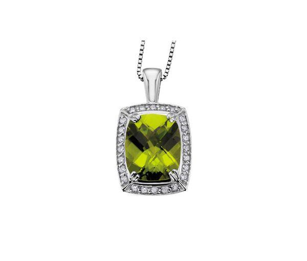 Pendentif 14k blanc peridot 0,25 diamant 18''
