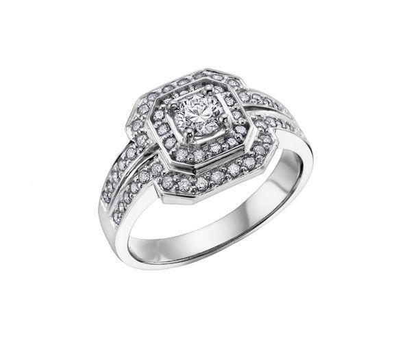Bague dame or 14k blanc sertie de 55 diamants