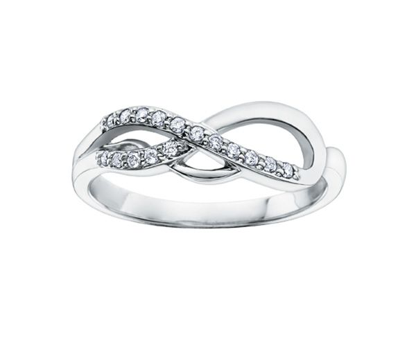 Bague dame infini or 14k blanc sertie de 16 diamants
