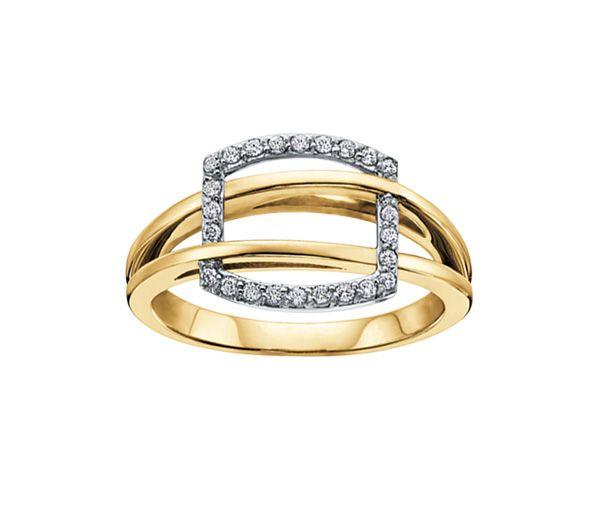 Bague dame or 10k 2 tons sertie de 24 diamants