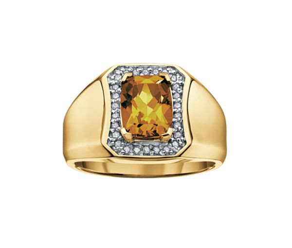 Bague homme or 10k sertie de diamants et d'un quartz jaune
