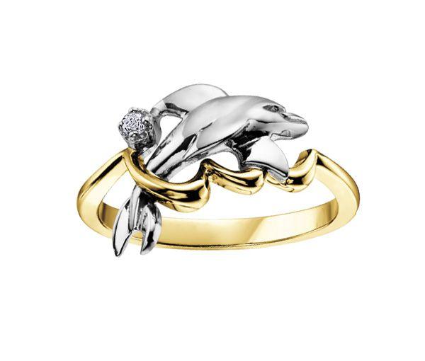 Bague dame dauphin or 10k 2 tons sertie d'un diamant