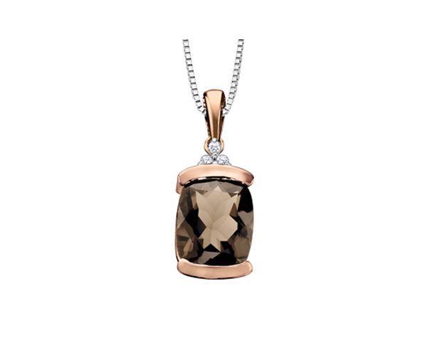 Pendentif 10k 2 ton quartz fu 3=0,02 diamant si2 18''
