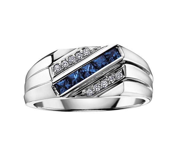 Bague homme or 10k blanc sertie de diamants et de saphirs bleus