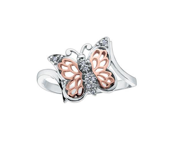 Bague dame papillon or 10k 2 tons sertie de 10 diamants