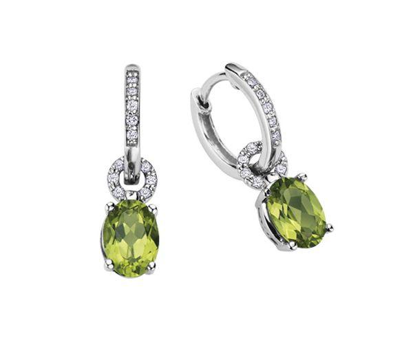 Boucles 10k peridot 0,12 ct diamants