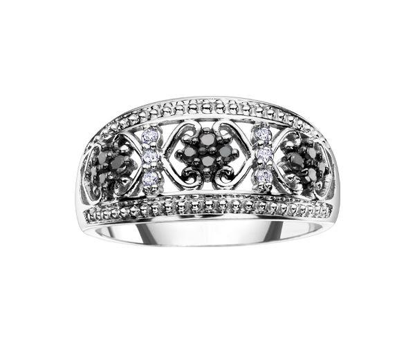 Bague dame or 10k blanc sertie de 18 diamants noirs et blancs