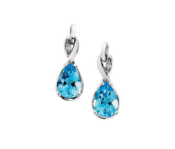 Boucles 10k blanc topaze bleu 2=0,01 diamant si