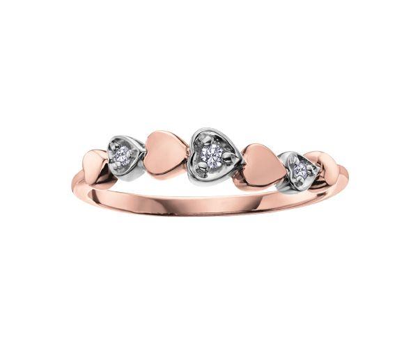 Bague dame coeurs or 10k 2 tons sertie de 3 diamants