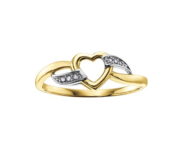 Bague dame coeur or 10k 2 tons sertie de 6 diamants