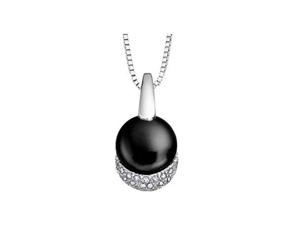 Pendentif 10k blanc onyx 18=0,09 diamant i1 18''