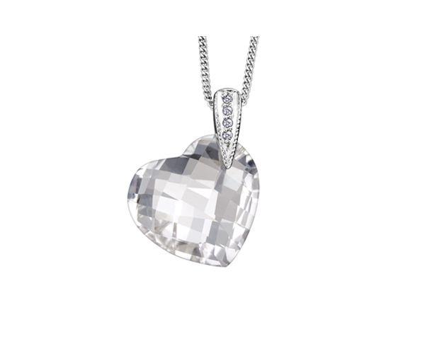 Pendentif 10k blanc quartz 4=0,02 diamant i1 18''
