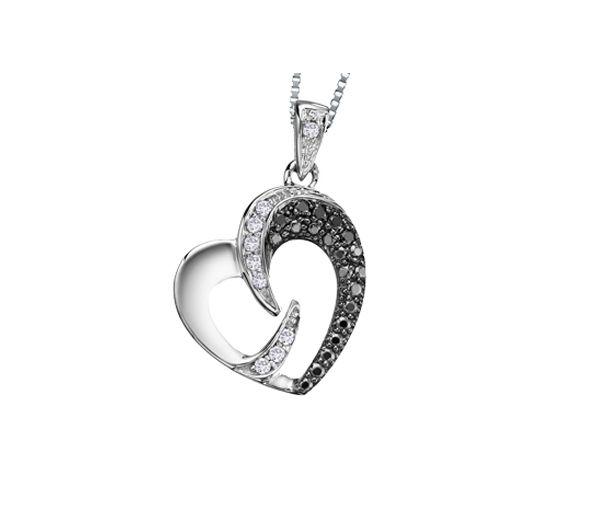 Pendentif 10k blanc 9=0,06 diamant i1+5=0,03 diamant noir 1