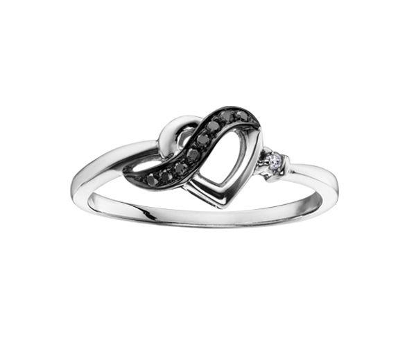 Bague dame coeur or 10k blanc sertie de 9 diamants blancs et noirs