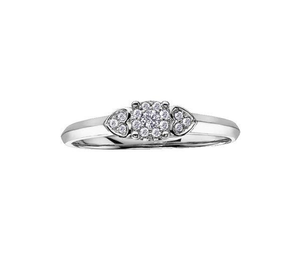Bague dame or 10k blanc sertie de 15 diamants