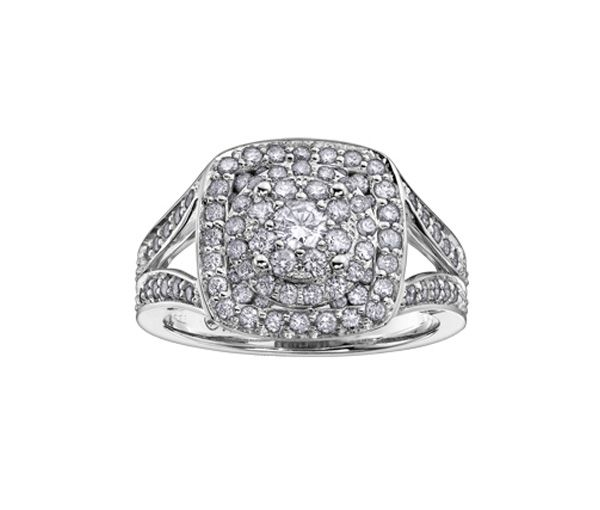 Bague dame or 14k blanc sertie de 106 diamants