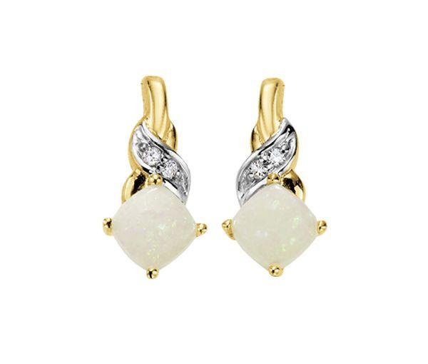 Boucles fixe 10k opale 4=0,02 diamant i1-i2