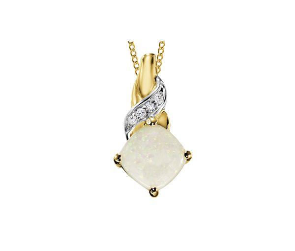 Mignon pendentif pour dame en or 10k 2 tons serti d'une opale et de diamants