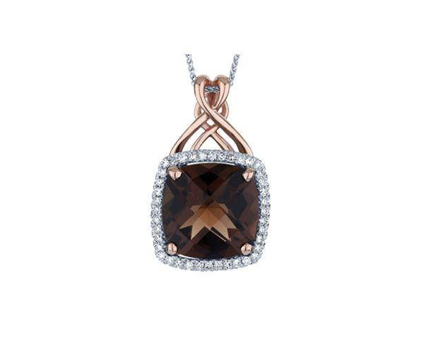 Pendentif 10k rose quartz fume 40=0,17 diamant i1-i2