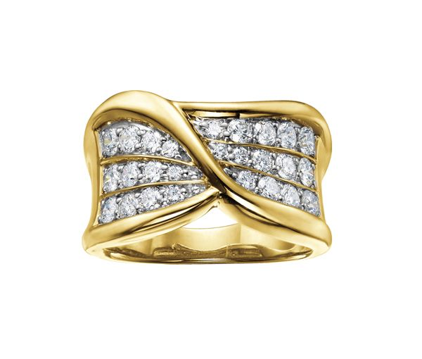 Bague dame or 14k sertie de 29 diamants