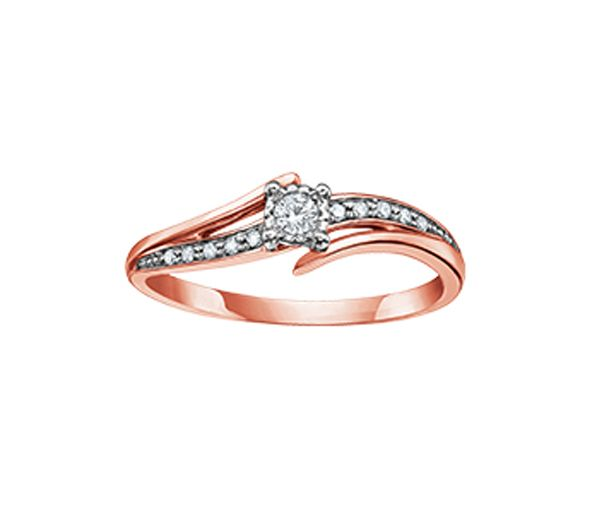 Bague dame en or 10k rose sertie de diamants