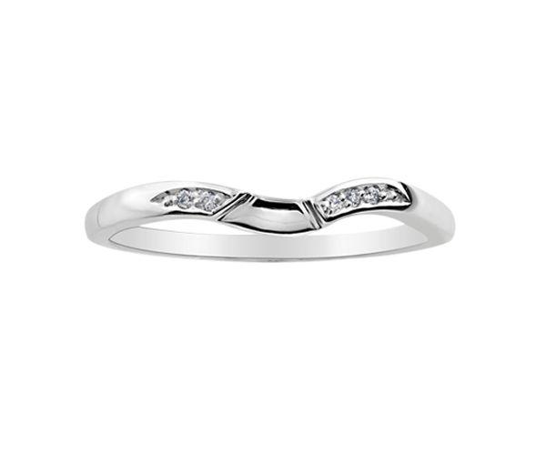 Joli jonc contour pour dame en or 10k blanc serti de diamants