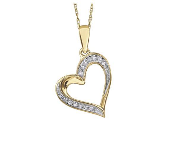 Pendentif coeur 10k jaune 15=0,05 diamant i1
