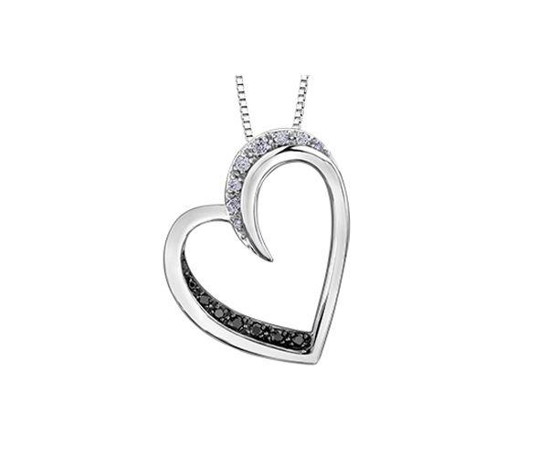 Pendentif coeur 10k blanc 7=0,05 diamant noirs+8=0,05 diamant