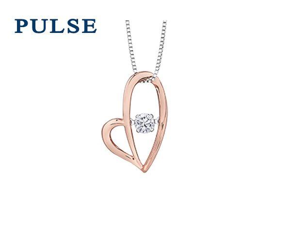 Pendentif pulse coeur 10k rose 0,12 diamant i1 18''
