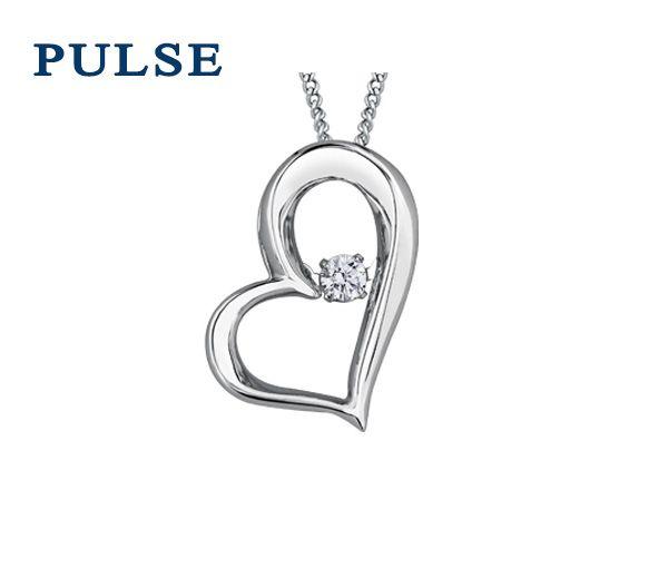 Pendentif pulse coeur 10k blanc 0,05 diamant i1 18''