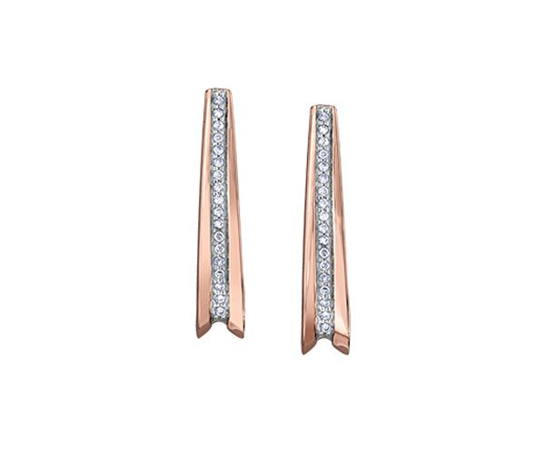 Boucles fixe or rose 10k 36=0,09 diamant i1