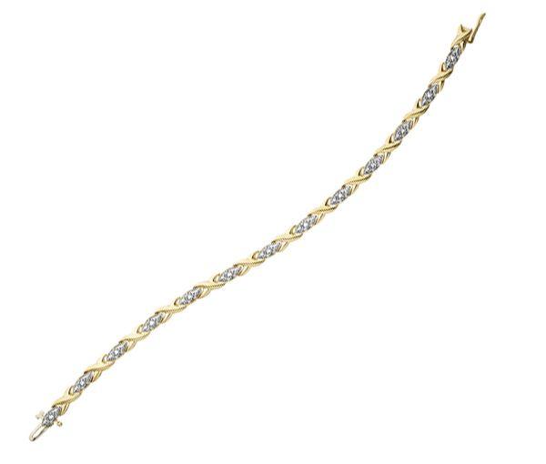 Bracelet dame en or 10k 2 tons serti de 13 diamants