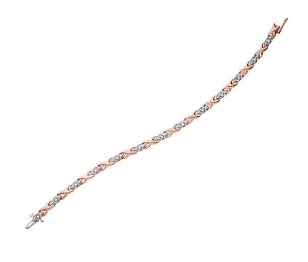 Bracelet 10k 2t rose 13=0,10 diamants i1