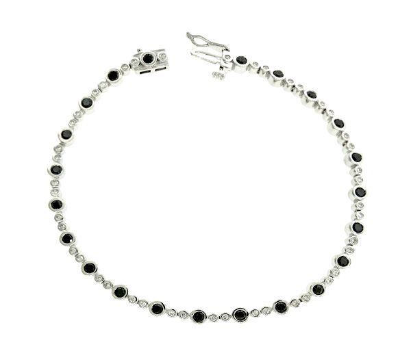 Bracelet 10k 66=1,43 diamant noir/blanc