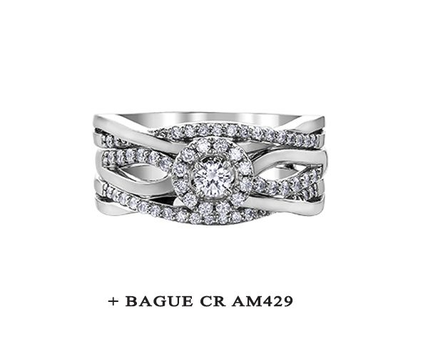 MAGNIFIQUE Jonc POUR dame en or 10k blanc serti de diamants
