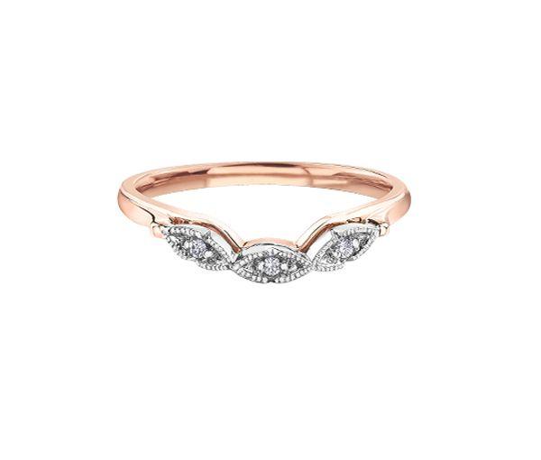 Joli jonc contour pour dame en or 10k 2 tons rose serti de diamants