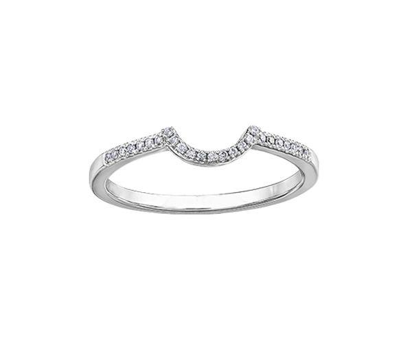 Joli jonc contour pour dame en 10k blanc serti de diamants