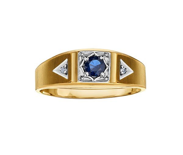 Bague homme 10k saphir+2=0,016 diamant