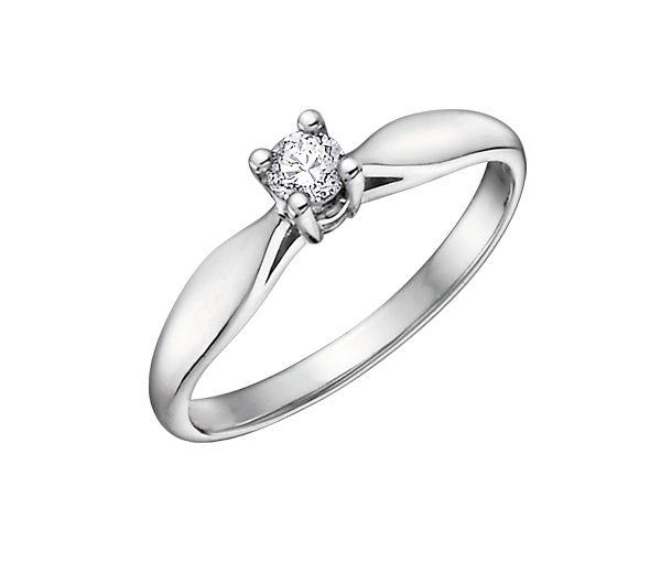 Bague dame solitaire en or 10k blanc sertie d'un diamant